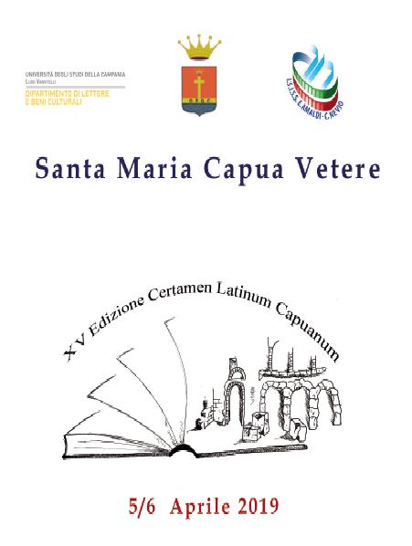 Locandina Certamen SANTA MARIA CAPUA VETERE: CERTAMEN LATINUM CAPUANUM, AL VIA L'EDIZIONE 2019