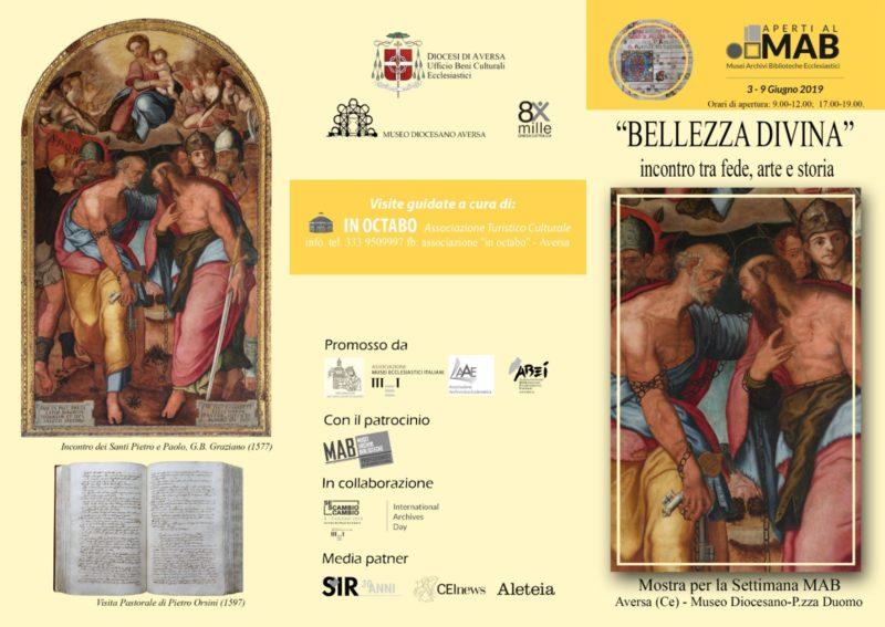 "Mostra bellezza divina brochure 1 AVERSA, MUSEO DIOCESANO, AL VIA LA MOSTRA ""BELLEZZA DIVINA: INCONTRO TRA FEDE, ARTE E STORIA"""