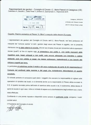 Protocollo SCUOLA SPORCA DOPO LE ELEZIONI, I GENITORI PROTESTANO E CHIEDONO SPIEGAZIONI