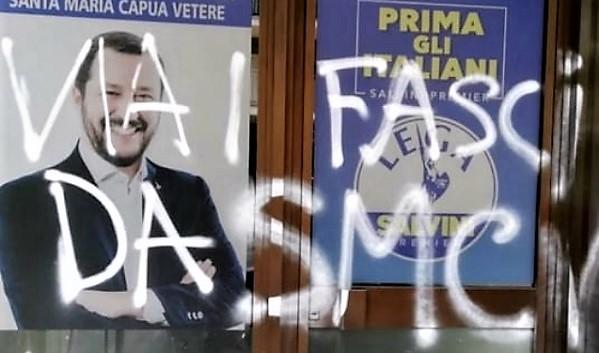 SCRITTA LEGA ATTO VANDALICO CONTRO IL COMITATO ELETTORALE DELLA LEGA