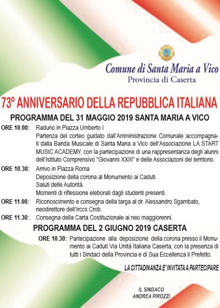 festa della repubblica SANTA MARIA A VICO, FESTA DELLA REPUBBLICA: CONSEGNA DELLA COSTITUZIONE AI NEO MAGGIORENNI