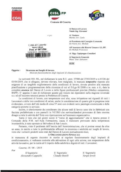 CGIL CISL UIL x Sicurezza   condizionatori 1 SISTEMA DI CLIMATIZZAZIONE AL COMUNE, INTERVENGONO I SINDACATI