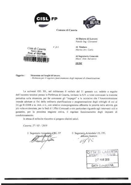 CGIL CISL UIL x Sicurezza   condizionatori 2 SISTEMA DI CLIMATIZZAZIONE AL COMUNE, INTERVENGONO I SINDACATI