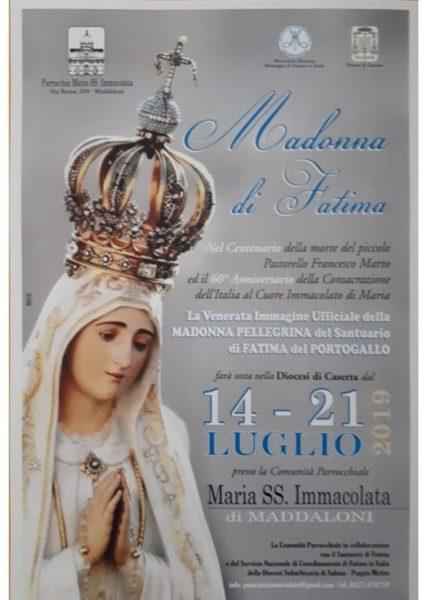 Locandina Madonna di Fatima 14 21 luglio 2019 FERVONO I PREPARATIVI A MADDALONI PER L'ARRIVO DELL'EFFIGE PELLEGRINA DELLA MADONNA DI FATIMA