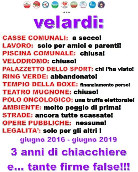 manifesto abbate MARCIANISE, IN UN MANIFESTO IL BILANCIO DELLOPPOSIZIONE DI TRE ANNI DI AMMINISTRAZIONE VELARDI