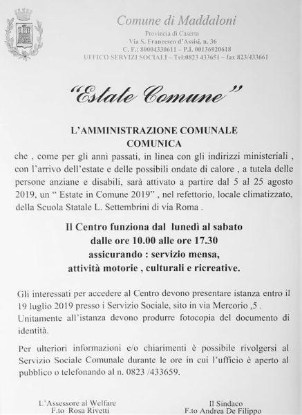 """estate comune MADDALONI, DOMANI LA SCADENZA DEI TERMINI PER ADERIRE A """"ESTATE COMUNE"""""""