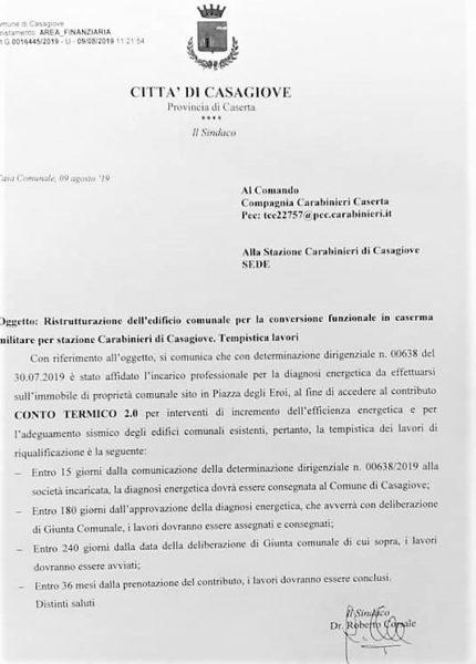 casagiove NUOVA CASERMA DEI CARABINIERI IN PIAZZA DEGLI EROI: PARTE LITER