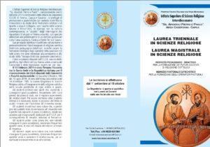 Brochure ISSR 2019 2020 1 300x210 APERTE LE ISCRIZIONI ALLA LAUREA MAGISTRALE DI SCIENZE RELIGIOSE