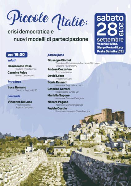 """%name PRATA SANNITA, CONVEGNO: """"PICCOLE ITALIE"""", CRISI DEMOCRATICA E PARTECIPAZIONE"""