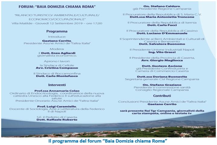 """forum baia domizia """"BAIA DOMIZIA CHIAMA ROMA"""" IL TITOLO DEL CONVEGNO VOLUTO DA GAETANO CERRITO OGGI A CELLOLE"""