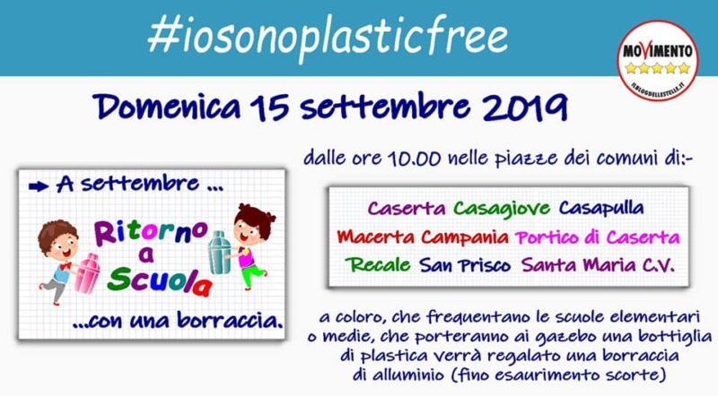 plastic free #IOSONOPLASTICFREE: APPUNTAMENTO NELLE PIAZZE DELLA PROVINCIA CASERTANA