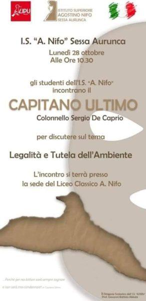 locandina liceo SESSA AURUNCA, LEGALITÀ: CAPITAN ULTIMO INCONTRERÀ GLI STUDENTI DEL NIFO