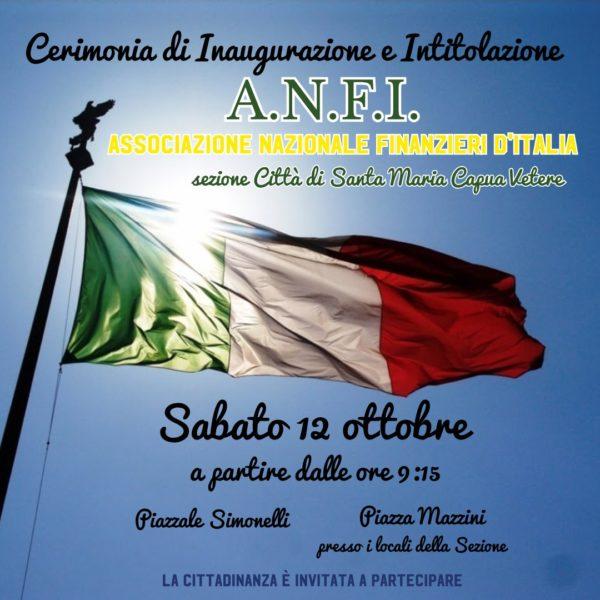 locandina SANTA MARIA CAPUA VETERE, ASSOCIAZIONE NAZIONALE FINANZIERI D'ITALIA: SABATO INAUGURAZIONE SEDE DELLA SEZIONE LOCALE