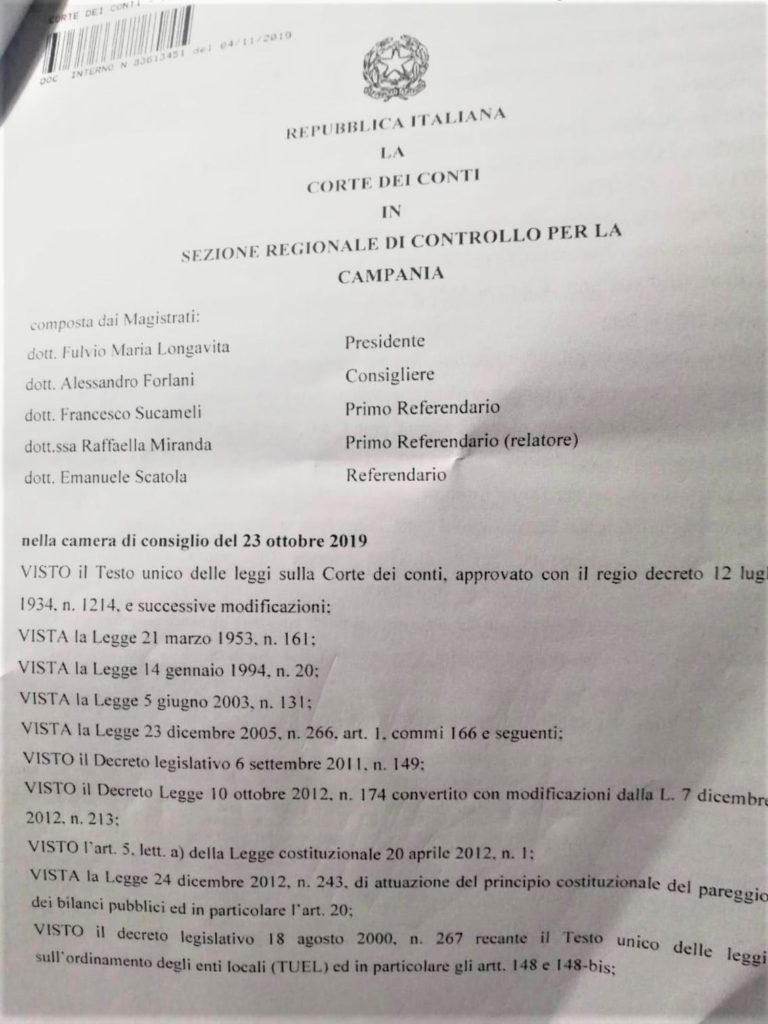 1 3 768x1024 ESCLUSIVA: LA CORTE DEI CONTI BOCCIA IL COMUNE DI SESSA AURUNCA E CONFERMA LE IRREGOLARITÀ CONTABILI