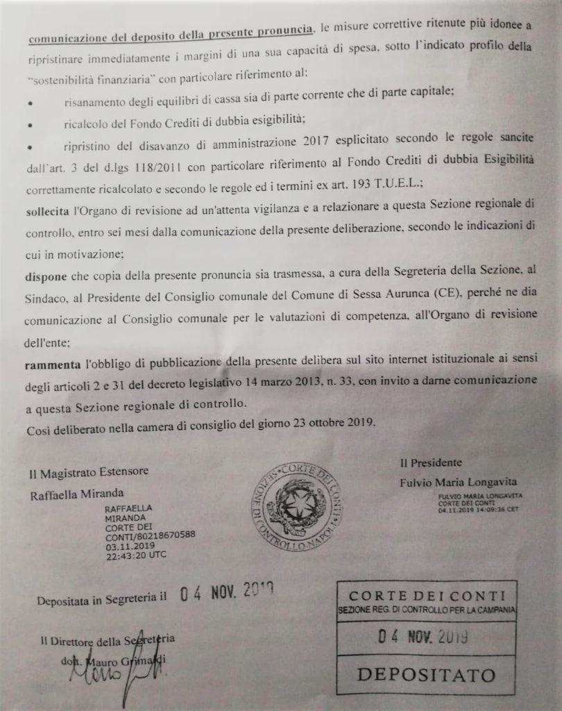 2 2 810x1024 ESCLUSIVA: LA CORTE DEI CONTI BOCCIA IL COMUNE DI SESSA AURUNCA E CONFERMA LE IRREGOLARITÀ CONTABILI