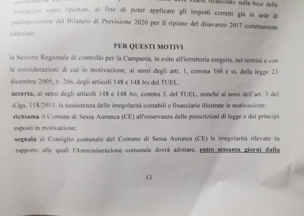 3 2 1024x728 ESCLUSIVA: LA CORTE DEI CONTI BOCCIA IL COMUNE DI SESSA AURUNCA E CONFERMA LE IRREGOLARITÀ CONTABILI