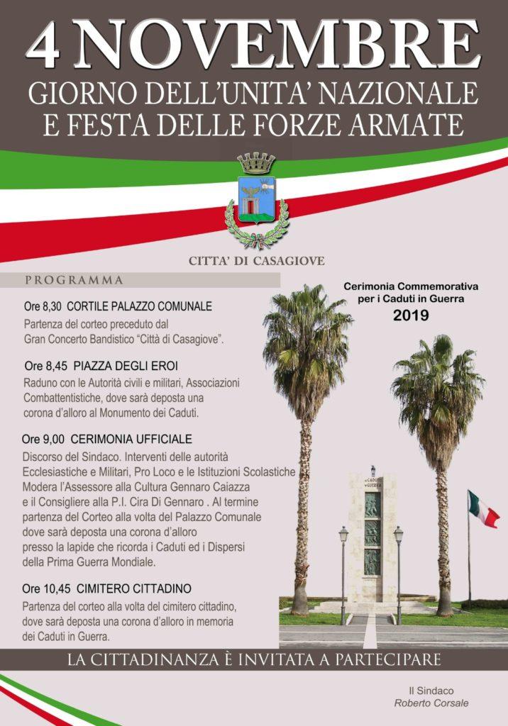 %name 4 NOVEMBRE 2019, IL COMUNE DI CASAGIOVE SI PREPARA A CELEBRARE LA FESTA DELL'UNITA' NAZIONALE E DELLE FORZE ARMATE