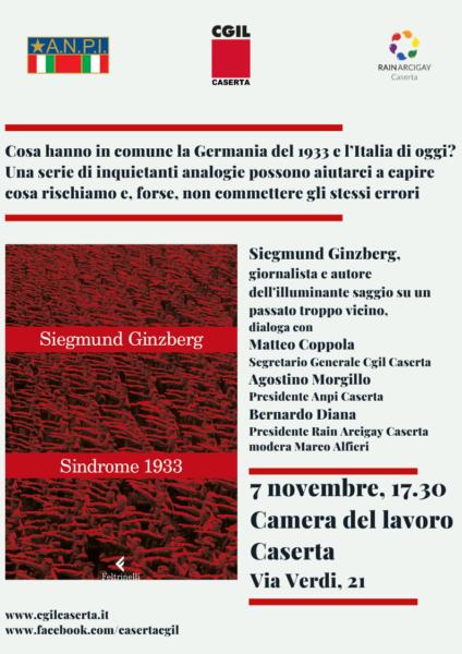 IMG 3296 SINDROME 1933 DI SIEGMUND GINZBERG: PRESENTAZIONE ALLA CGIL DI CASERTA CON ANPI E RAIN ARCIGAY