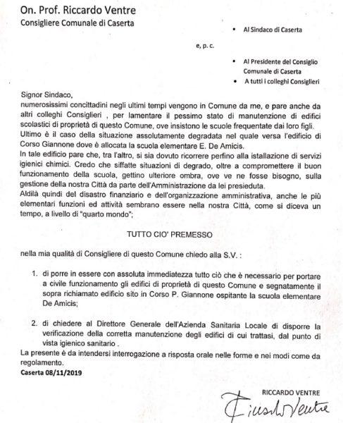 interrogazione ventre DEGRADO EDIFICI SCOLASTICI CASERTANI: VENTRE INTERROGA MARINO