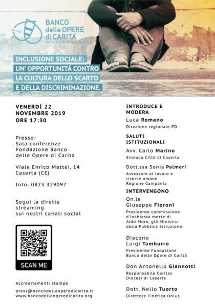 locandina banco BANCO OPERE DI CARITÀ PROMUOVE INCLUSIONE SOCIALE: OPPORTUNITÀ CONTRO SCARTO E DISCRIMINAZIONE