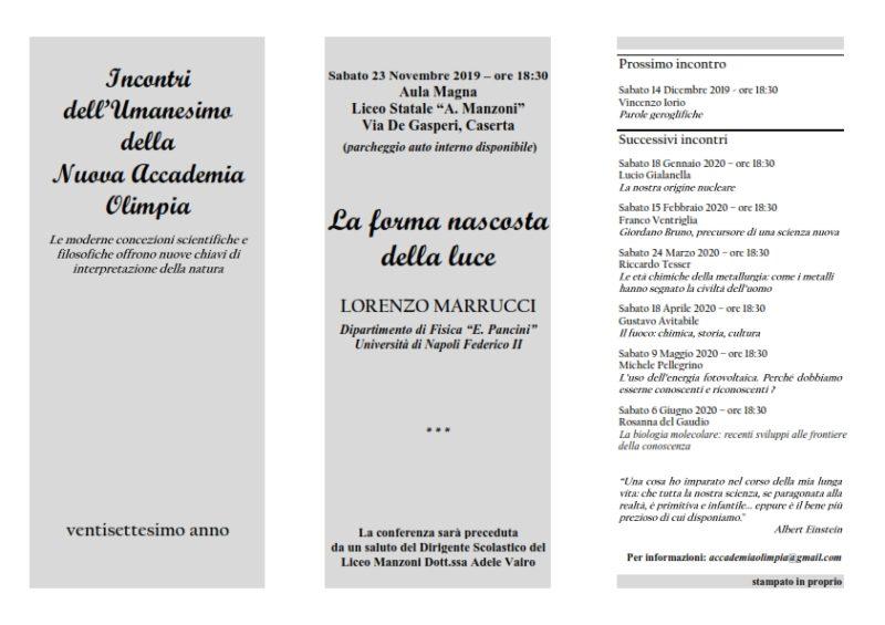 """olimpia inv ventisettesimo 7 001 LICEO MANZONI, """"LA FORMA NASCOSTA DELLA LUCE"""": NE PARLA IL PROF. LORENZO MARRUCCI"""
