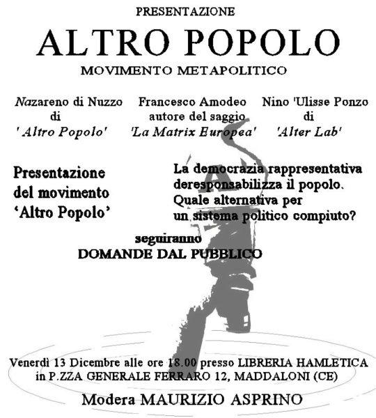 CONVEGNO ALTRO POPOLO NASCE ALTRO POPOLO, VENERDÌ 13 DICEMBRE ALLE 18 LA PRESENTAZIONE UFFICIALE