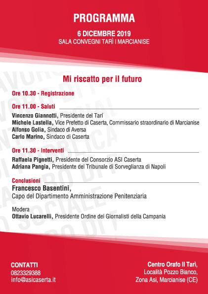 Locandina evento 1 PROTOCOLLO DINTESA TRA MINISTERO DELLA GIUSTIZIA E ASI CASERTA: DOMANI AL TARÌ