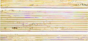 PAOLO BINI Contrasto con... 2019Acrilico su nastro carta e nastri olografici su tele5 elementi 30 x 120 cm montato 162x120cm  300x142 LUCE, LA MOSTRA DI PAOLO BINI ALLA GALLERIA PEDANA