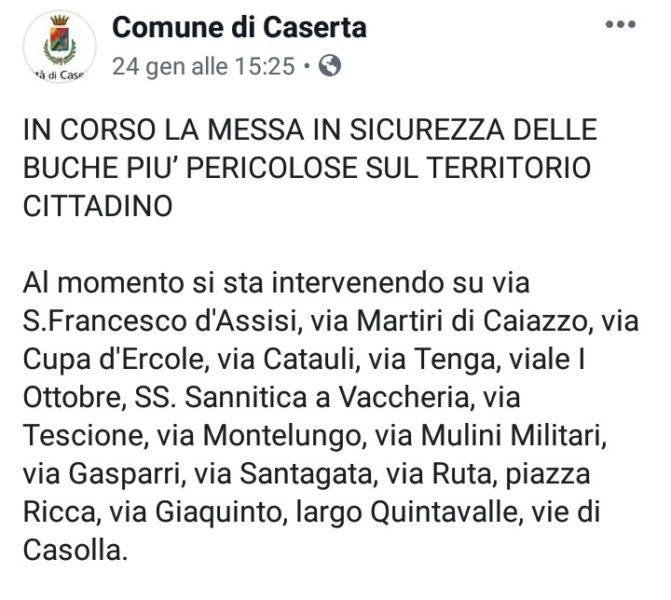 Annuncio Comune di Caserta AZIONE E PARTECIPAZIONE: IN CORSO LA RIPARAZIONE DELLE STRADE?...IL SOLITO BLUFF