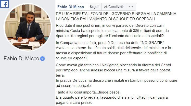 DI MICCO e1579206425483 IL SENATORE 5S DI MICCO DENUNCIA: DE LUCA DICE NO AI FONDI PER BONIFICA AMIANTO IN SCUOLE E OSPEDALI