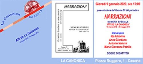 """Invito Narrazioni Vol 21 72dpi PRESENTAZIONE DEGLI """"ATTI DE LA CANONICA"""" 2016 2019"""