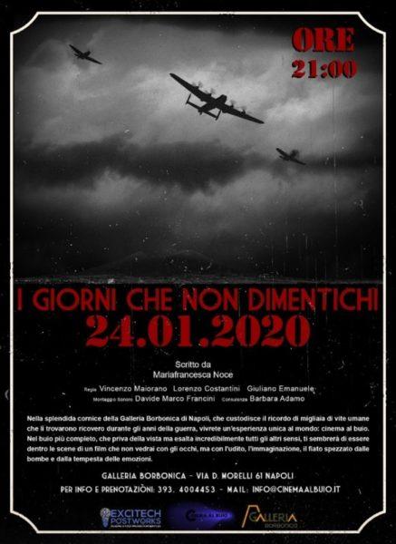 """Locandina 24 Gennaio scaled IL CINEMA AL BUIO NELLA GALLERIA BORBONICA: """"I GIORNI CHE NON DIMENTICHI. LE 4 GIORNATE DI NAPOLI"""""""