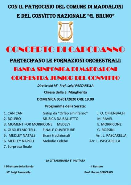 MANIFESTO concerto capodanno 2020 1 scaled MADDALONI, CONCERTO BANDISTICO IL 5 GENNAIO NELLA CHIESA DI SANTA MARGHERITA V. M.