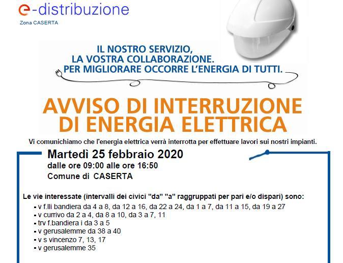 AVVISO E DISTR INTERRUZIONE DI ENERGIA ELETTRICA: ECCO LE STRADE INTERESSATE