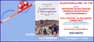 Invito PINTO CORVESE 20feb2020 300x135 LA CANONICA, INCONTRO SU UNIFICAZIONE ITALIANA E DELLA REAZIONE DEL MEZZOGIORNO