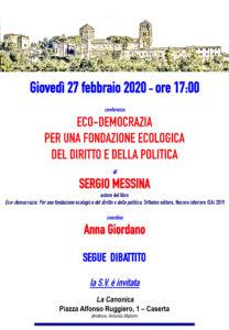 Locandina Messina 27feb2020 208x300 LA CANONICA, ARRIVA SERGIO MESSINA A PARLARE DI ECO DEMOCRAZIA