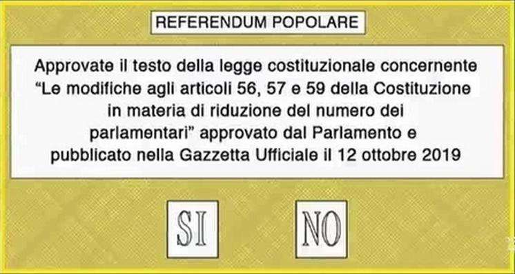 SchedaReferendumTagioParlamentari20 1 TAGLIO DEI PARLAMENTARI: IL 29 MARZO IL REFEREDUM CONFERMATIVO