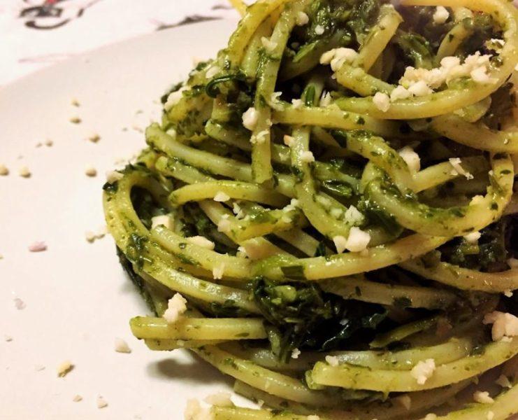 spaghetti friarielli e mandorle scaled SPAGHETTI FRIARIELLI E MANDORLE