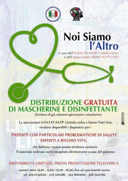 Distirbuzione Mascherine e disinfettante prima distribuzione scaled SESSA AURUNCA, EMERGENZA COVID 19: LE INIZIATIVE DELLASSOCIAZIONE SIAMO TUTTI NOI