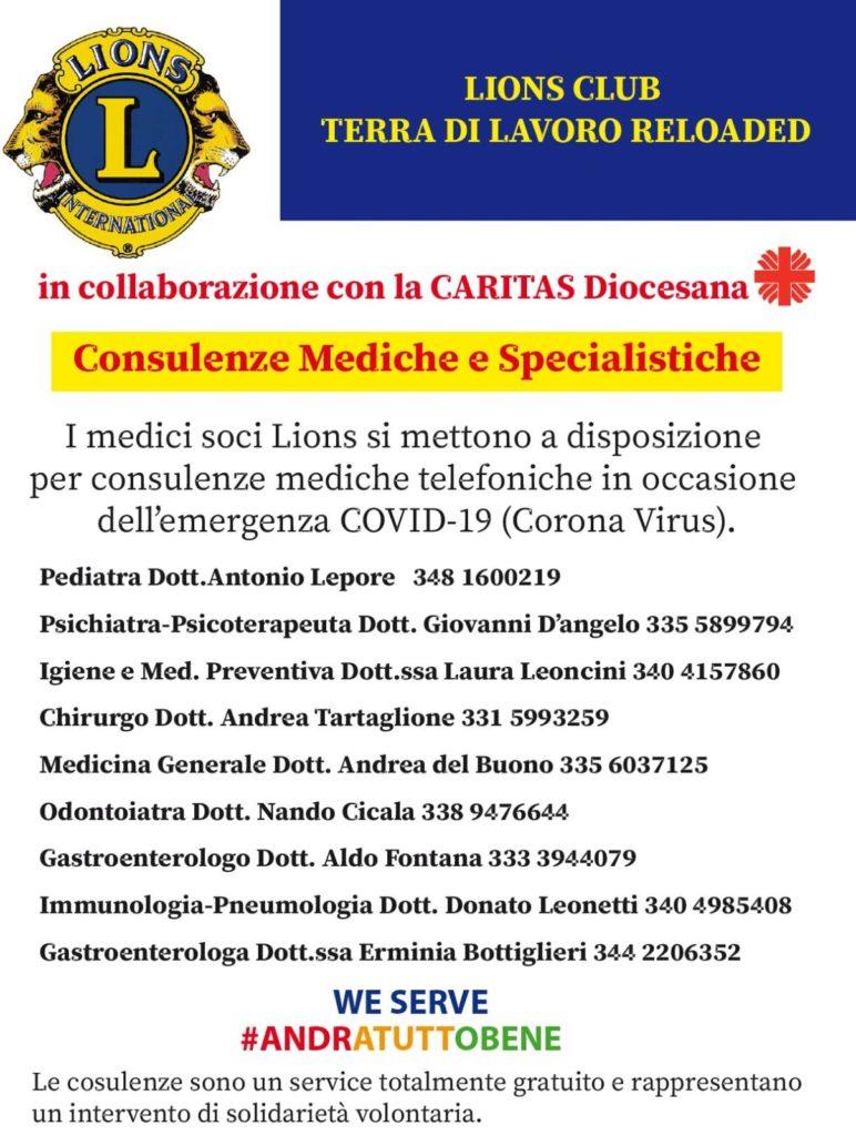 %name LIONS CLUB TERRA DI LAVORO, I MEDICI E SOCI OFFRONO CONSULENZE TELEFONICHE SPECIALISTICHE AI CITTADINI