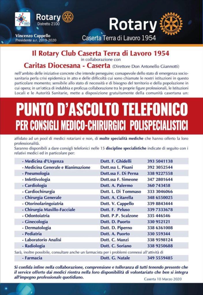 %name ROTARY CLUB CASERTA, ATTIVO IL PUNTO DI ASCOLTO TELEFONICO PER CONSIGLI DI MEDICINA POLISPECIALISTICA