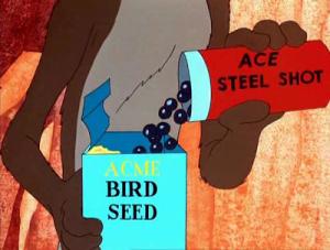 Wile E. Coyote inserisce pallini d'acciaio nel mangime di Beep Beep UNABOMBER
