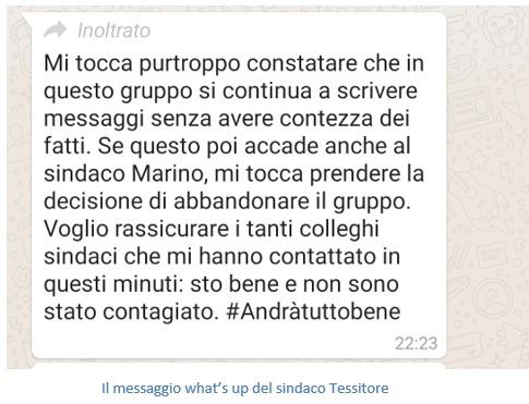 messaggio FRANCOLISE E CORONAVIRUS…LO STRANO CASO DEL SINDACO TESSITORE!
