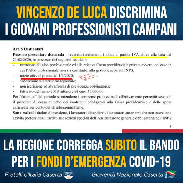 """%name SARA PETELLA FDI: """"LA REGIONE DISCRIMINA I GIOVANI PROFESSIONISTI"""""""