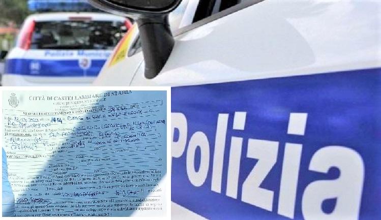 vigili urbanicastellammare CASTELLAMMARE DI STABIA, DOPO 24 ORE DI LAVORO IN OSPEDALE...MULTA DA 530 EURO
