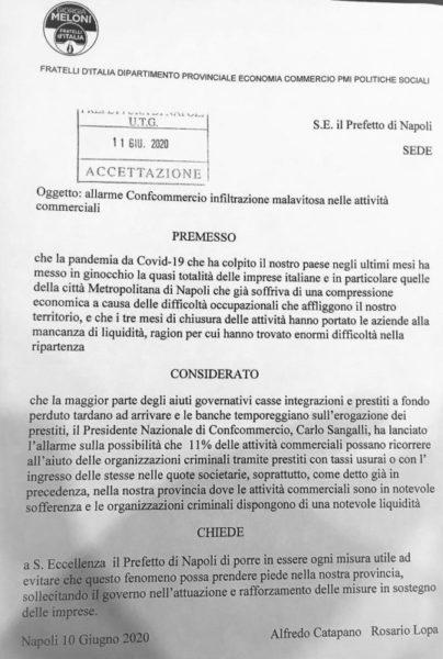 %name ALLARME DELLA CONFCOMMERCIO SULLE INFILTRAZIONI ILLEGALI NELLE ATTIVITÀ COMMERCIALI: FDI INVIA MISSIVA AL PREFETTO