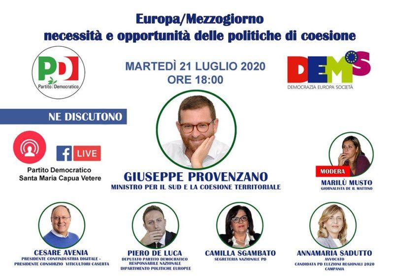 """BANNER INCONTRO CON MINISTRO PROVENZANO scaled """"EUROPA/MEZZOGIORNO, NECESSITÀ E OPPORTUNITÀ DELLE POLITICHE DI COESIONE"""", ALLE 18 SU FACEBOOK INCONTRO CON IL MINISTRO PER IL SUD PROVENZANO"""
