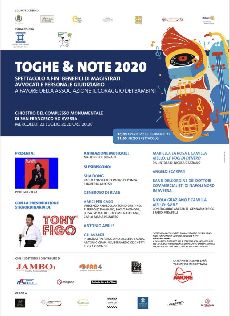 """Locandina 1 746x1024 """"TOGHE & NOTE 2020"""": SPETTACOLO BENEFICO DI MAGISTRATI, AVVOCATI, E PERSONALE GIUDIZIARIO A FAVORE DELL'ASSOCIAZIONE """"IL CORAGGIO DEI BAMBINI"""""""