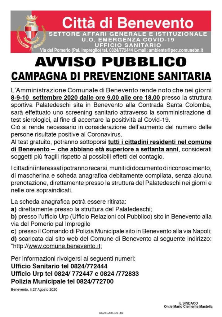 AVVISO BENEVENTO 716x1024 BENEVENTO, CAMPAGNA DI PREVENZIONE: TEST SIEROLOGICI PER I CITTADINI