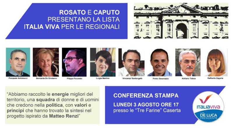 CARD PRESENTAZIONE ITALIA VIVA CASERTA 3 ROSATO E CAPUTO PRESENTANO LA LISTA ITALIA VIVA CASERTA PER LE REGIONALI